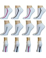 AirStep Women's Cotton Blend No Show Athletic Socks with Cushion Sole - 12 Pair