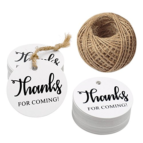 Original Design Thanks for Coming Tags 100 PCS Round Tags,Kraft Paper Gift Tags with 100 Feet Natural Jute Twine Perfect for Baby Shower,Wedding Party Favor ()
