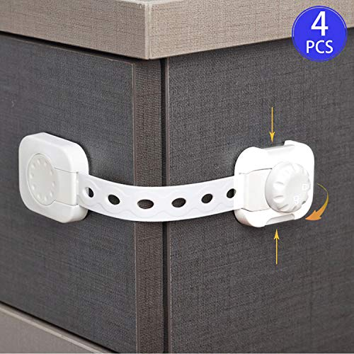 RAVCON Child Safety Cabinet Locks Baby Safety Locks Strap,Child Proof Lock for Drawers Toilet Fridge Oven,Self-Adhesive Safety Lock with Adjustable Strap,4PCS
