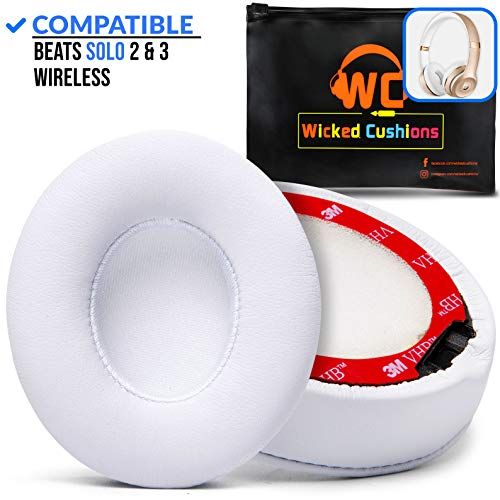 Wicked Cushions Premium Beats Solo 3 Earpad Replacement- Easy To install Cushions for Beats Solo 2  3 Wireless ON-EAR Headphones (NOT for Over-ear Beats STUDIO) | Adaptive Memory Foam  Soft Pleather