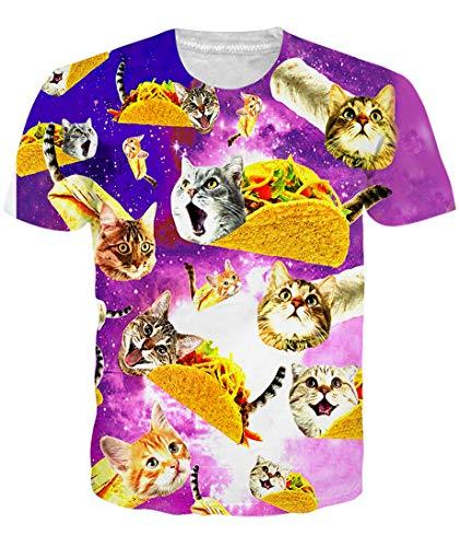 Animal Mens Clothing - Loveternal Unisex Cat T Shirts 3D Graphics Print Short Sleeve Dj T Shirts for Men Taco Shirts Guy Workout Animal T Shirts Summer Cool Top Tees for Men Women Slim Dj T Shirts for Men