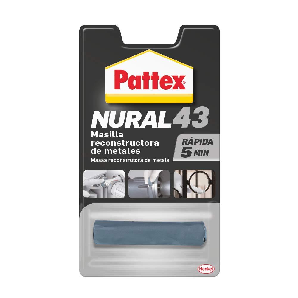 Pattex Nural 43 Masilla reconstructora de metales, masilla adhesiva para restaurar piezas metálicas, masilla gris para grietas, agujeros, fisuras y uniones, 1 x 48 g