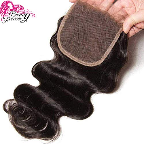 Beauty Forever Hair Indian Virgin Hair Closure1 Piece Free Part Body Wave Lace Closure 100 Unprocessed Human Hair Extensions Natural Color (free part closure 16)