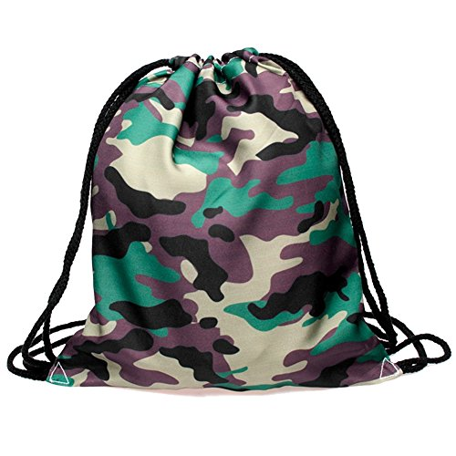 Price comparison product image Ababalaya 3D Print Drawstring Backpack Rucksack Shoulder Bags Gym Bag, Camouflage