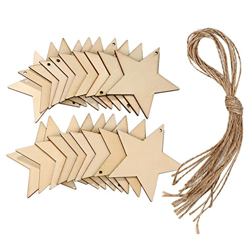 Wood Star Ornaments (Sumind 20 Pieces Wooden Stars Craft Star Shape Slices Wood Star Decoration with 10 m Twine for Christmas, Crafts, DIY)