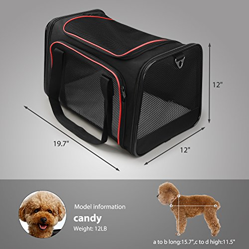 X-ZONE PET Airline Approved Pet Carriers,Soft Sided collapsible Pet travel Carrier for medium puppy and cats (Large, Black&red) by X-ZONE PET (Image #1)