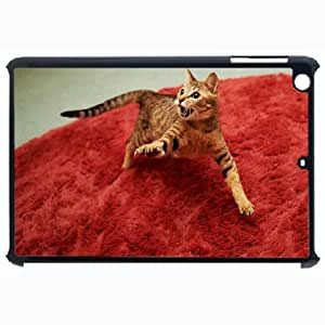Customized Back Cover Case For iPad Air 5 Hardshell Case, Black Back Cover Design Angry Cat Personalized Unique Case For iPad Air 5