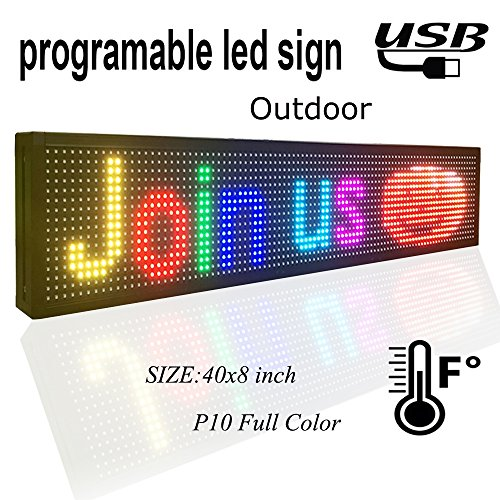 "programmable LED sign 40"" x 8"" outdoor P10 RGB full color SMD led scrolling display message board Perfect solution for advertising"