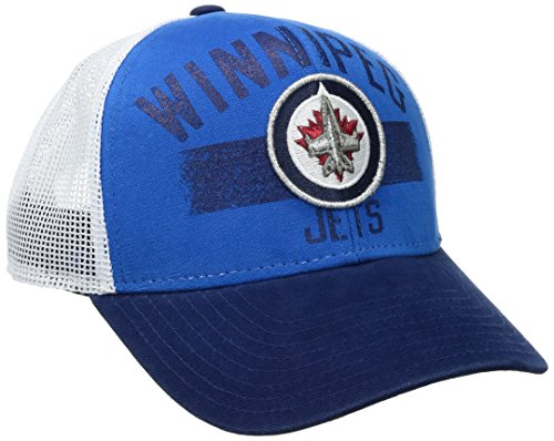 fan products of Reebok NHL Winnipeg Jets Men's SP17 City Name Trucker Cap, Blue, One Size