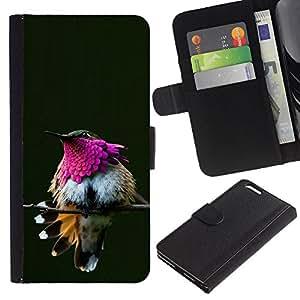 Planetar® Modelo colorido cuero carpeta tirón caso cubierta piel Holster Funda protección Apple (5.5 inches!!!) iPhone 6+ Plus / 6S+ Plus ( Purple Green Branch Feathers Beak )