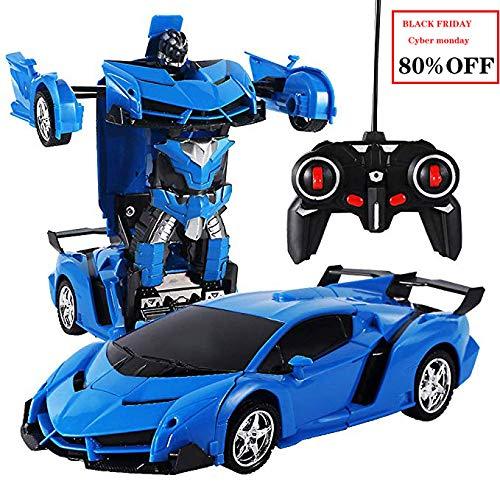 VEZARON RC Car for Kids Adults Transform Car Robot Toy, One-Button Deformation Car Model Toy 1:18 Transformation Remote Control Vehicle for Children Perfect for Birthday Gift (Blue)