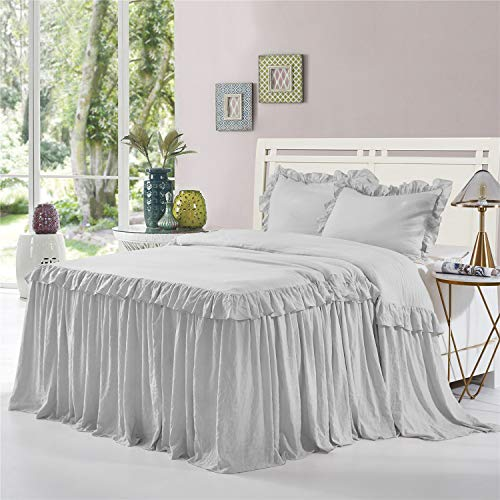 HIG 3 Piece Ruffle Skirt Bedspread Set Queen-Gray Color 30 inches Drop Ruffled Style Bed Skirt Coverlets Bedspreads Dust Ruffles- Alina Bedding Collections Queen Size-1 Bedspread, 2 Standard Shams (Bedspread With Skirt)
