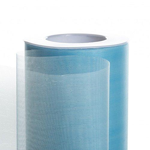 Koyal Wholesale 25-Yard Sheer Organza Fabric Roll, 6-Inch, Light Blue (Ribbon Wired Organza Blue)
