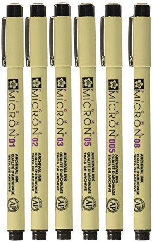(Sakura 30062 Pigma Micron Pen (Set of 6), Black)