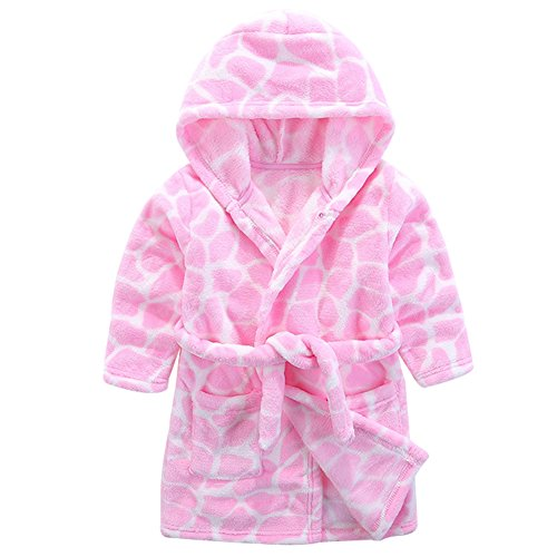 Baby Boy Girl Animal Bathrobe Infant Hooded Robe Tower Pink 90 by LOSORN ZPY
