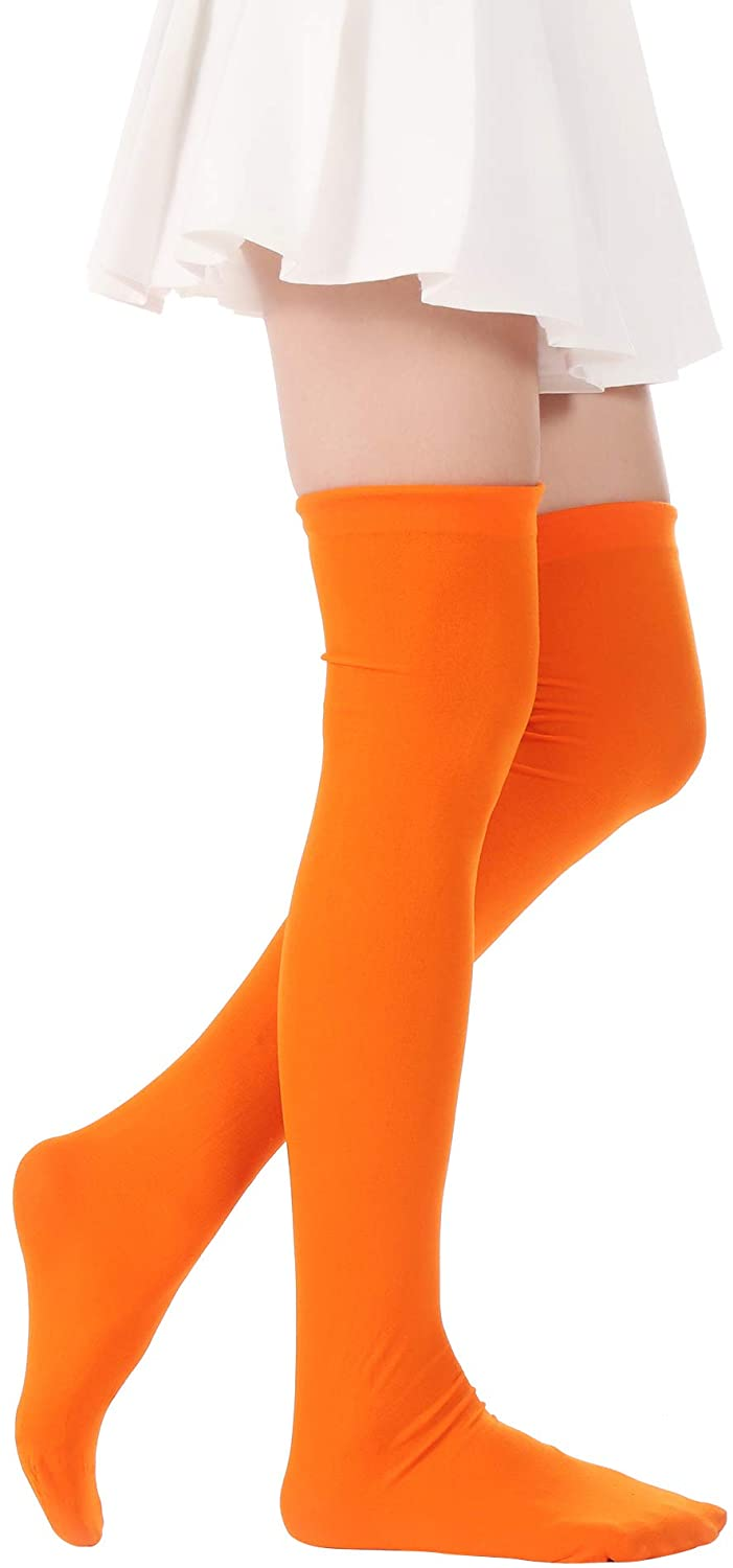 17560f13d Amazon.com  Over Knee Long Striped Stockings Saint Patrick s Day Socks  Costume Thigh High Tights(02 Orange stockings 2)  Clothing