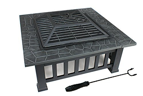 "Zeny Fire Pit 32"" Outdoor Square Metal Firepit"