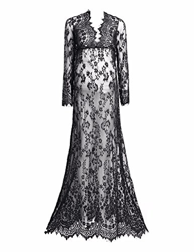 FEESHOW Women's Deep V-Neck Lace Maternity Gowns Long Maxi Dress for Photo Shoot