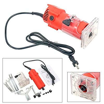 YaeTek 110V Trim Router Edge Woodworking Compact Router Wood Clean Cuts Power Tool Set 30000RPM 6mm Collet
