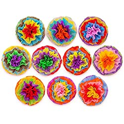 "Cinco De Mayo Decorations Fiesta Tissue Pom Paper Flowers - Mexican Party Supplies 16"" (Set of 10)"