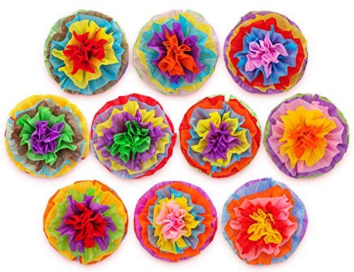 Cinco De Mayo Decorations Fiesta Tissue Pom Paper Flowers - Mexican Party Supplies 16inch (Set of 10) -