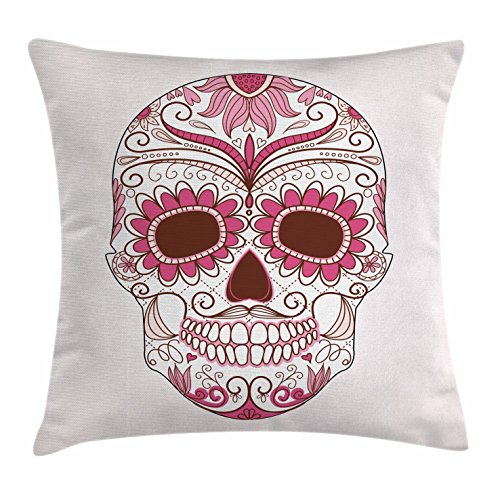 Ambesonne Sugar Skull Decor Throw Pillow Cushion Cover, Mexican Ornaments Calavera Catrina Inspired Folk Art Macabre, Decorative Square Accent Pillow Case, 24 X 24 Inches, Pink Light Pink White -