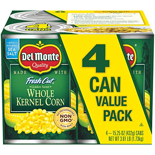 Del Monte Canned Fresh Cut Golden Sweet Whole Kernel Corn, 15.25 Ounce Cans (Pack of 4) from Del Monte