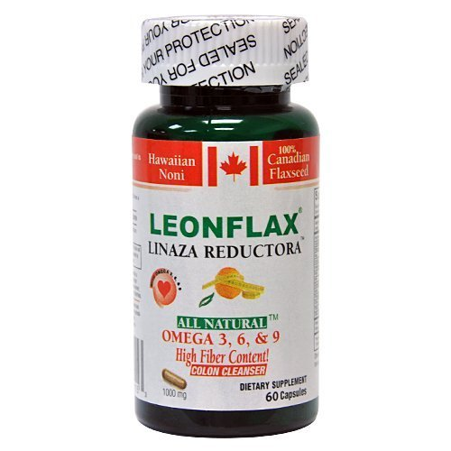 Leonflax Linaza Reductora 60 Capsules Weight Loss Colon Cleanser, 1000mg,Omega !!!High Fiber Content!!!