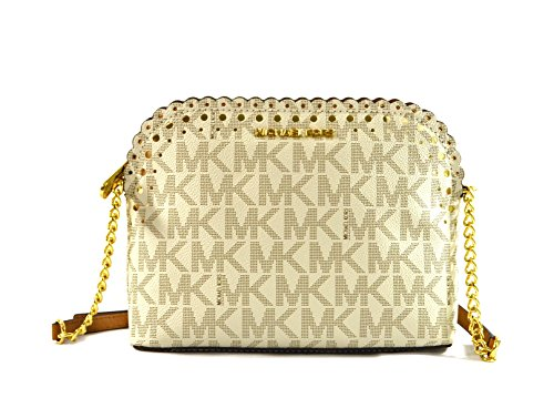 Michael Kors Violet Cindy Dome Crossbody Bag Purse Handbag (Vanilla Pale Gold) by Michael Kors