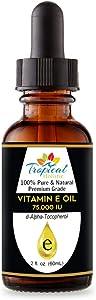 100% Pure Premium Vitamin E Oil 2 oz - Maximum Strength 75,000 IU-Blocks Free Radicals, Slows Aging, Reduces Wrinkles, Skin,Nails, Hair, Scars, Sunburn - Travel Size