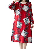 AMSKY Plus Size Maxi Dress,Women Plue Size Long Sleeve Patchwork Cotton Linen Loose Print Bohe Dress,Fashion Hoodies & Sweatshirts,Red,XL