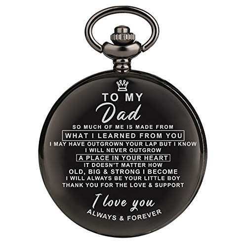 Engraved Pocket Watch for Men,Vintage Style Pocket Fob Watch Necklace Chain Quartz with Gifts Box, Perfect Graduation/Birthday Gift from a Mother/Father to Son (for Dad)