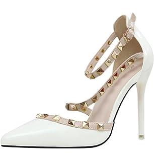 Minetom Scarpe Col Tacco Estate Donna Court Party Shoes Rotazione Rivetti  Punta Aguzza Bocca Superficiale Sottile 95d579bcd0b