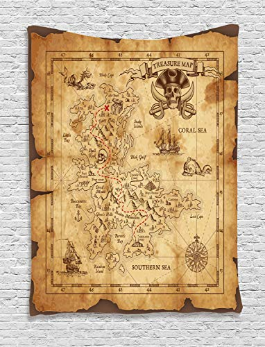 Ambesonne Island Map Tapestry, Super Detailed Treasure Map Grungy Rustic Pirates Gold Secret Sea History Theme, Wall Hanging for Bedroom Living Room Dorm Decor, 40
