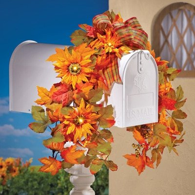 Pre Lit LED Decorative Mail Box Cover Swag Autumn Fall Thanksgiving Decor (Lighted Mailbox)