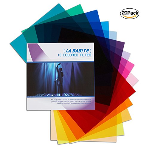 La Babite Pack of 20 Colored Overlays Transparency Color Film Plastic Sheets Correction Gel Light Filter Sheet, 8.7 by 11 Inch,10 Different Colors
