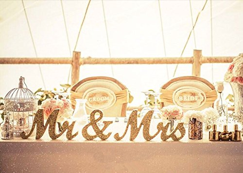 Gold Glitter MR & MRS Wedding Anniversary Centerpiece Bride Table Decoration Set