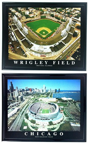 (MLB Framed Baseball Chicago Cubs Wrigley Field Baseball Stadium and New Soldier Field Wall Art F2503)