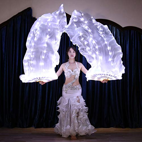 KT Mall Belly Dance LED Fan Veil - 1.8 Long Bamboo Fans Veil Hand Made Silk Fan for Dance, Party Stage Props/Outdoor,1Pair