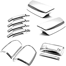 Sizver Chrome Top Half Mirror Covers+4door handles+Tail Light Frame Covers+Tail Gate Cover For 2014-2018 Chevy Silverado 1500 ^Not Fit Towing Mirror^