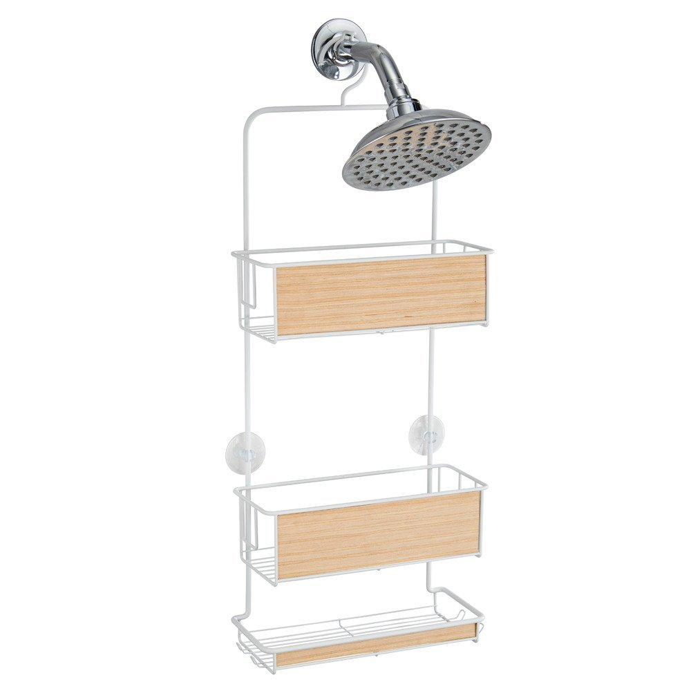 InterDesign RealWood Shower Caddy - Bathroom Storage Shelves for Shampoo, Conditioner and Soap, White/Light Wood Finish