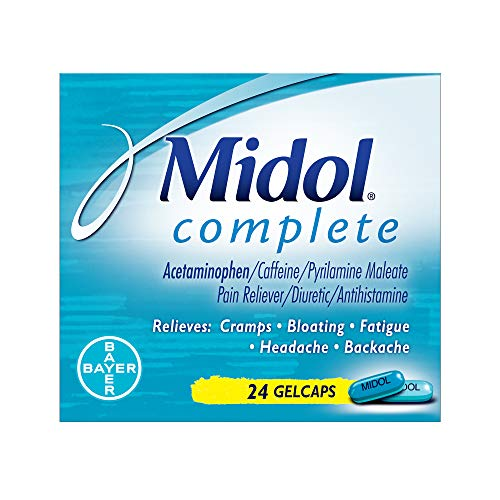 Midol Complete, Menstrual Period Symptoms Relief Including Premenstrual Cramps, Pain, Headache, and Bloating, Gelcaps, 24 Count