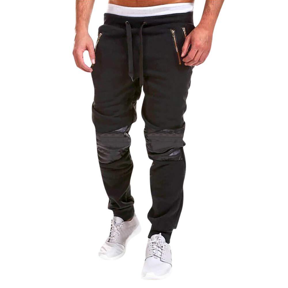 Sale! Teresamoon Fashion Men's Zipper Patchwork Cotton Casual Sweatpants Drawstring Pant