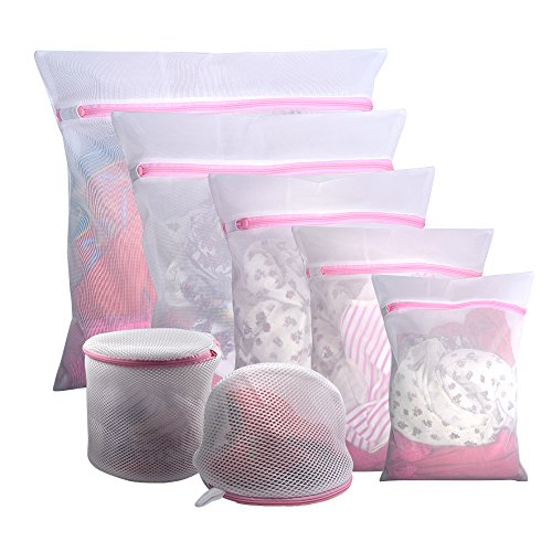 Gogooda 7Pcs Mesh Laundry Bags for Delicates with Premium Zipper, Travel Storage Organize Bag, Clothing Washing Bags for Laundry, Blouse, Bra, Hosiery, Stocking, Underwear, Lingerie ()