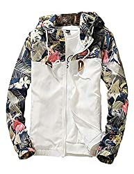 Men's Windbreaker Floral Hooded Bomber Jacket