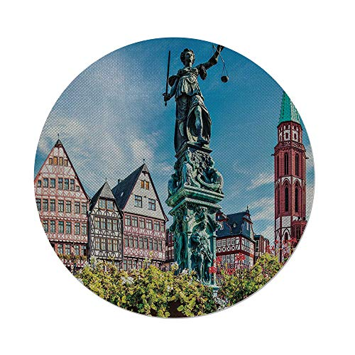 iPrint Cotton Linen Round Tablecloth,European,Old City of Frankfurt Germany with Historical Buildings Statue Cityscape Scenery Decorative,Multicolor,Dining Room Kitchen Table Cloth Cover ()