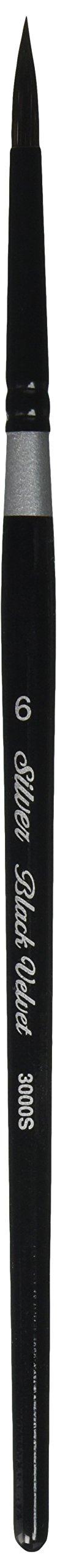 Silver Brush 3000S-6 Black Velvet Short Handle Blend Squirrel and Risslon Brush, Round, Size 6