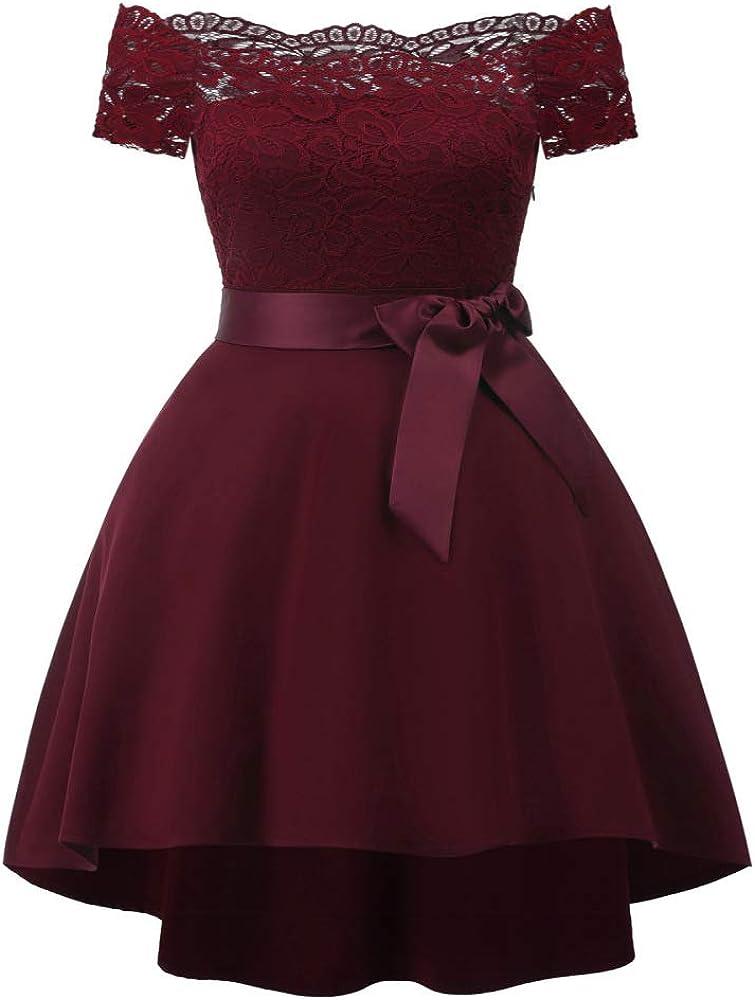 YYXDP Vestido 2020 Primavera y Verano Nuevo Mujer Palabra hombro Encaje Costura Sat/én Fiesta Vestido de Dama de Honor