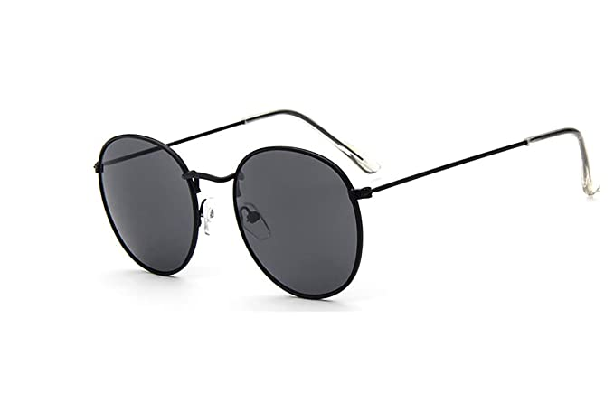 467c609ce0603 GAMT Vintage Round Aviator Sunglasses Color Film for Women Black Frame Gray  Lins