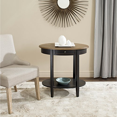 Safavieh American Homes Collection Monica Black and Oak Oval End - Table Finish Nesting Rustic Oak